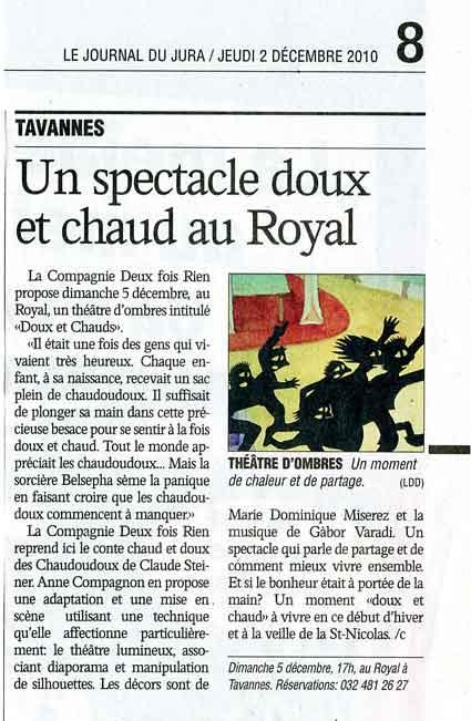 Le Journal du Jura – décembre 2010