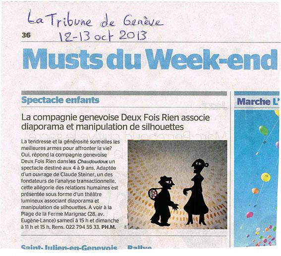Tribune de Genève –  octobre 2013